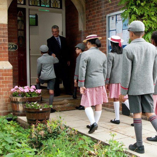 Students entering the school